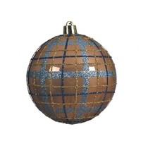 Kerstbal plastic 8cm ruit camelbruin