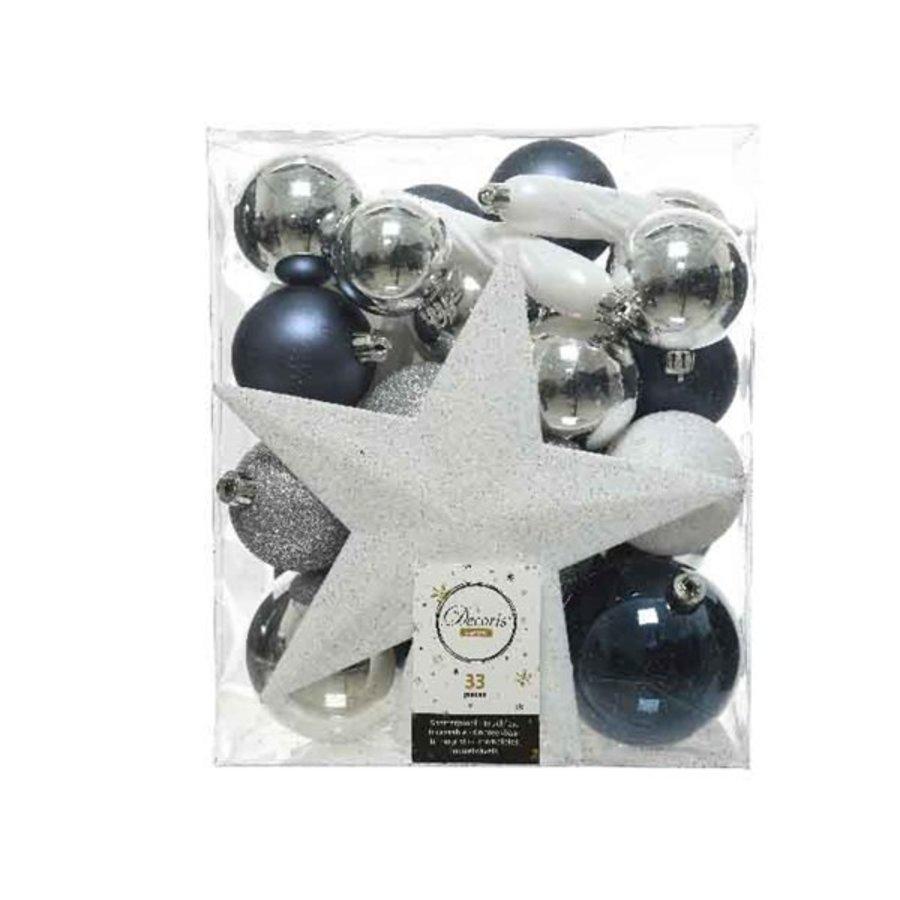 Kerstballen met piek blauw/wit /33-1