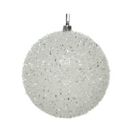 Kerstbal plastic glitter d10cm wit/zilver