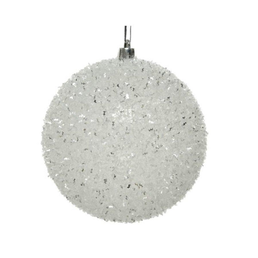 Kerstbal plastic glitter d10cm wit/zilver-1