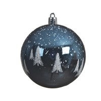 Kerstbal plastic m/boom 8cm blauw