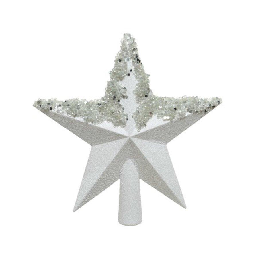 Piek ster plastic d19x20cm wit/iris glitter-1