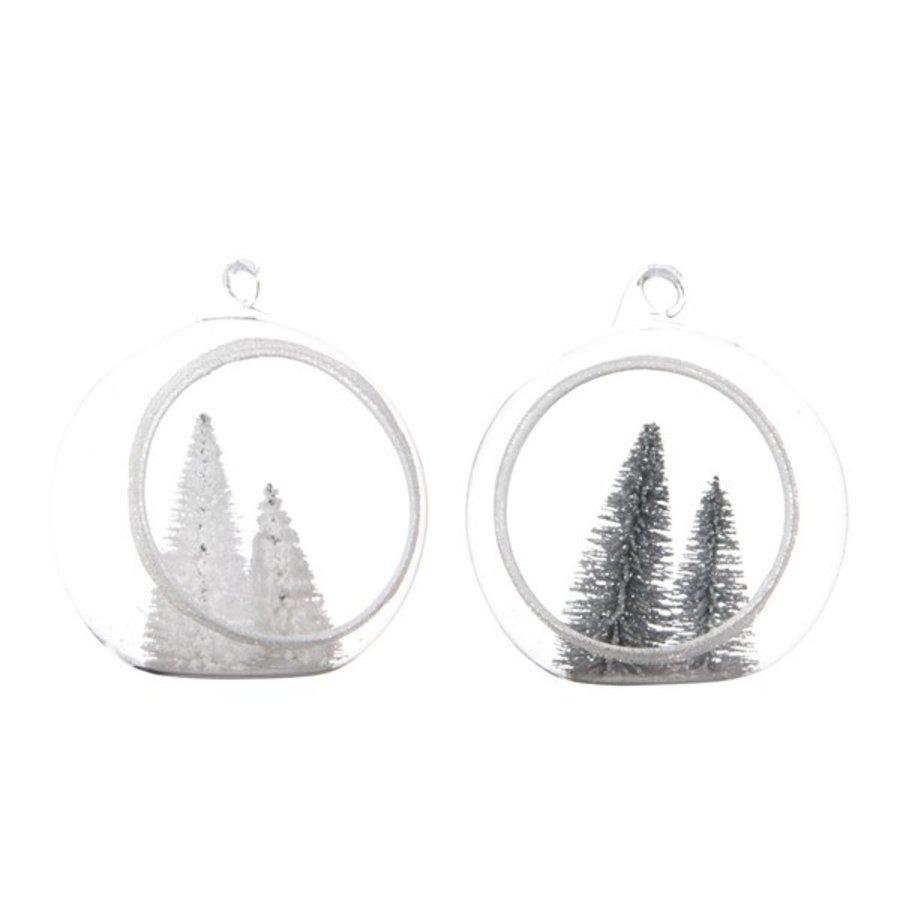 Open kerstbal glas m/kerstboom 8cm wit/zilver-1