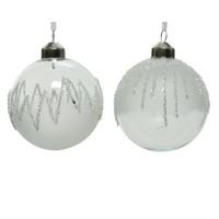 Kerstbal glas 8cm ijslak wit