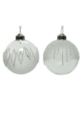 Decoris Kerstbal glas 8cm ijslak wit