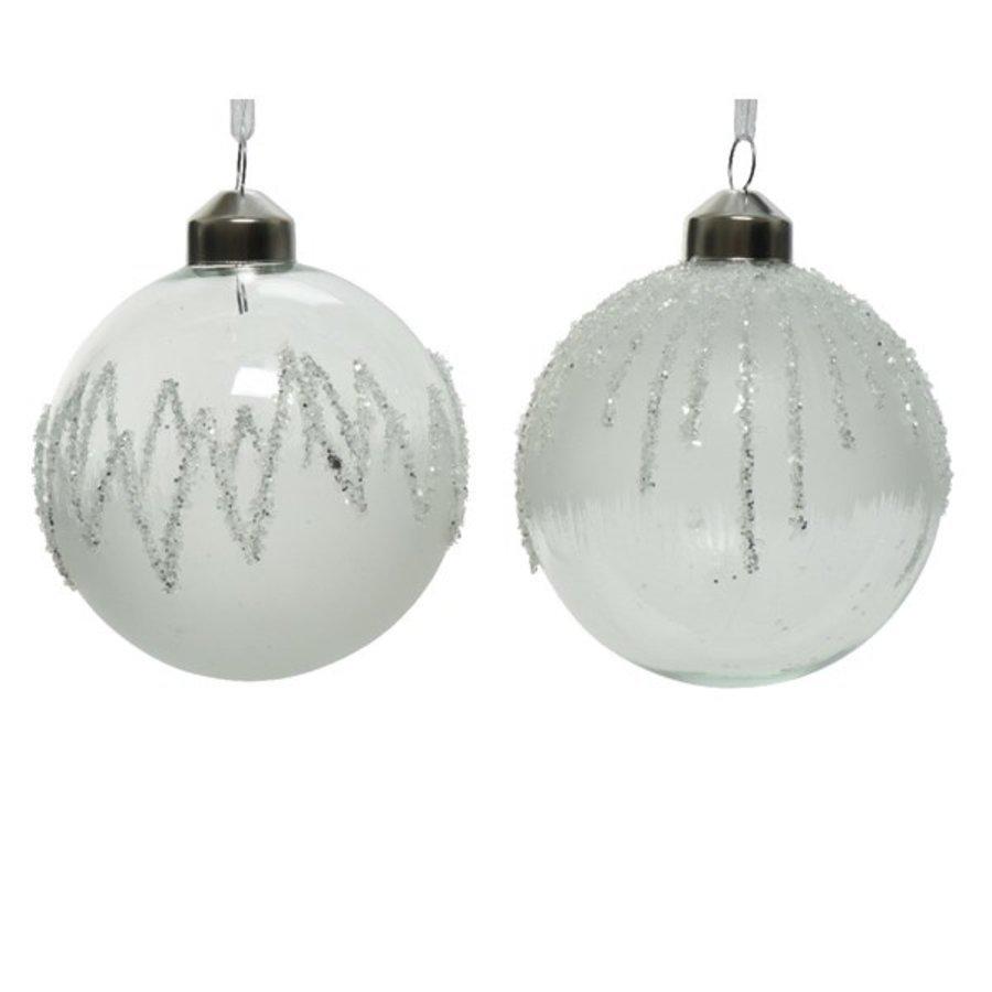 Kerstbal glas 8cm ijslak wit-1