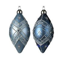 Olijf glas m/hanger  11cm blauw 2st