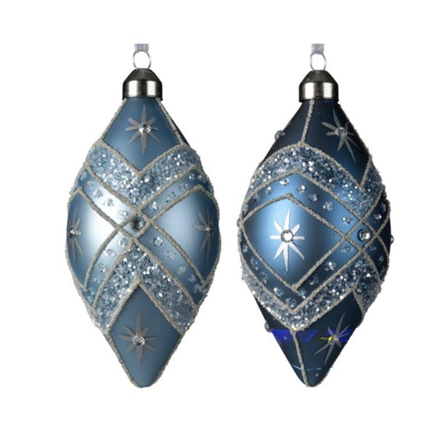 Olijf glas m/hanger  11cm blauw 2st-1