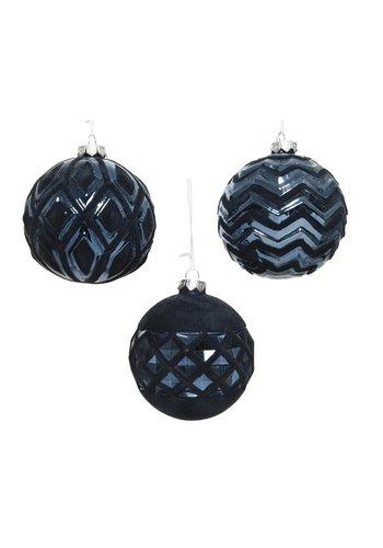 Decoris Kerstbal glas flock 10cm blauw 3ass
