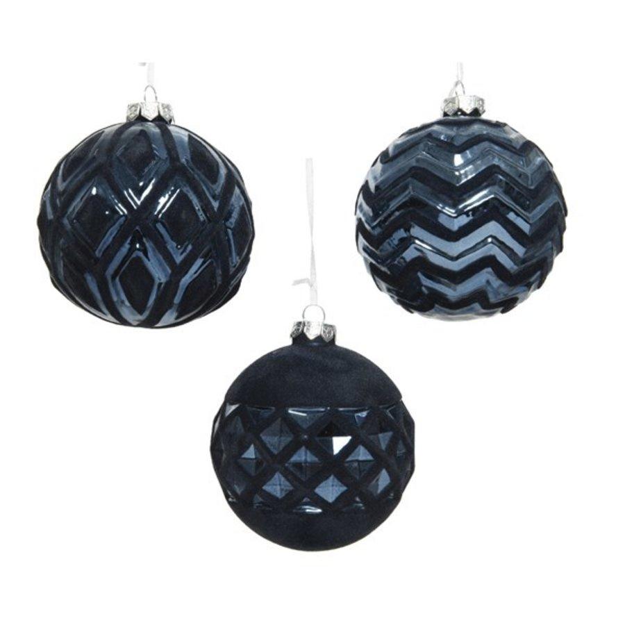 Kerstbal glas flock 10cm blauw 3ass-1
