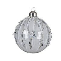 Kerstbal glas glitter 8cm wit/transparant set/3
