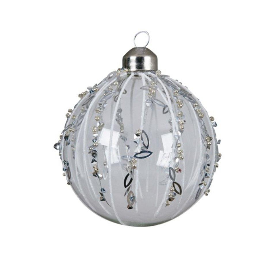 Kerstbal glas glitter 8cm wit/transparant set/3-1