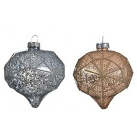 Kerstbal diamant glas 8cm ass