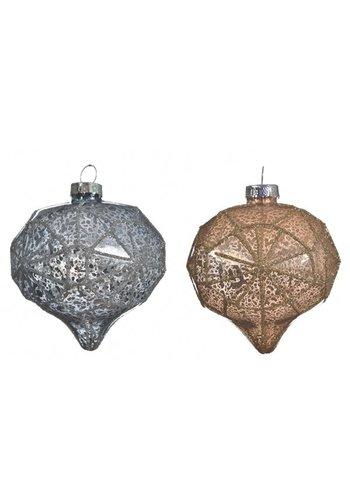 Decoris Kerstbal diamant glas 8cm ass