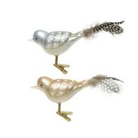 Vogel glas met veren op clip set/3