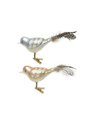 Decoris Vogel glas met veren op clip set/3