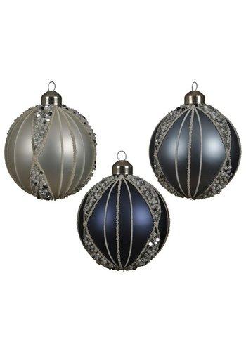 Decoris Kerstbal glas m/kraaltjes 8cm ass