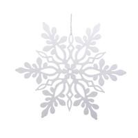 Sneeuwvlok plastic met hanger wit 33cm