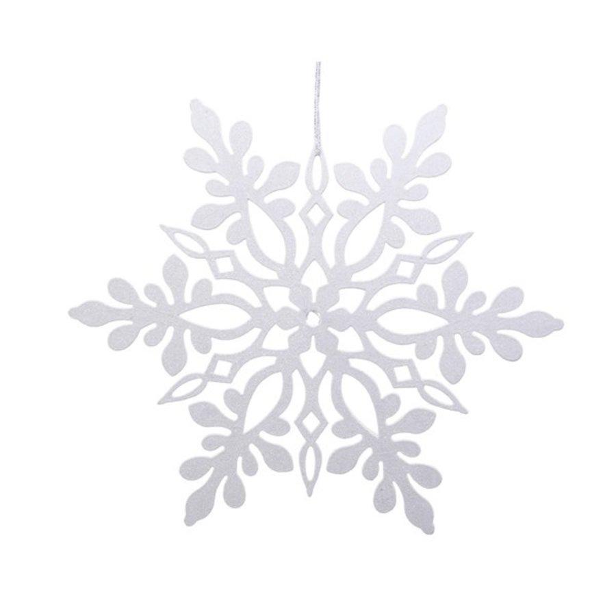 Sneeuwvlok plastic met hanger wit 33cm-1