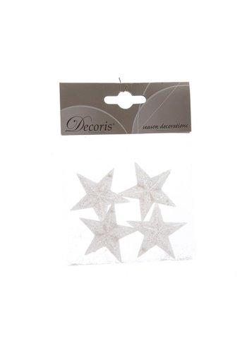 Decoris Ster plastic met hanger wit  4.5cm /4