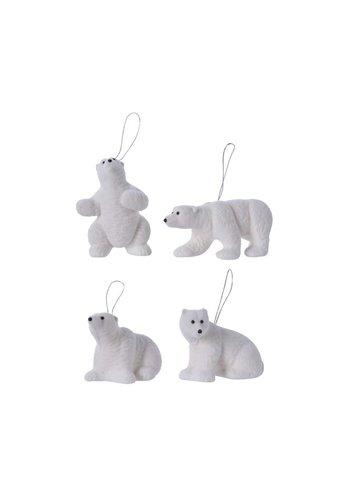 Decoris Ijsbeer plastic met hanger 4ass wit