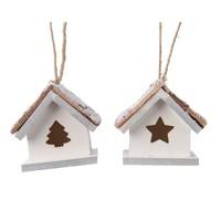 Huis mdf met hanger wit 6x6x4cm 2ass
