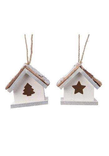 Decoris Huis mdf met hanger wit 6x6x4cm 2ass