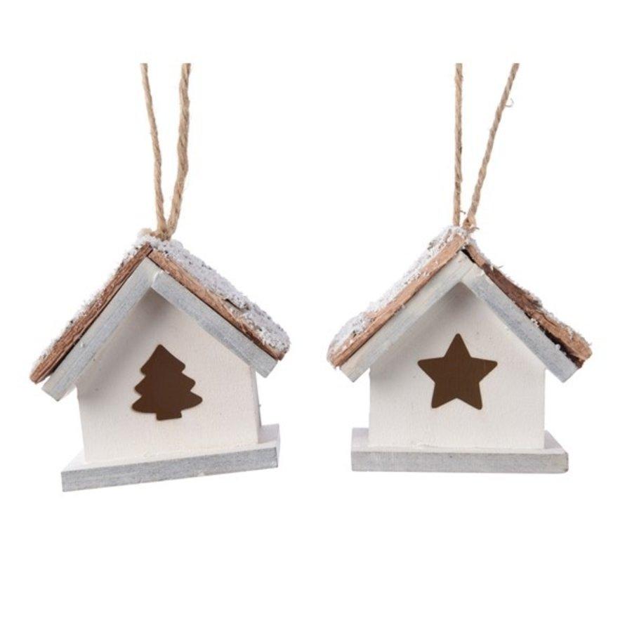 Huis mdf met hanger wit 6x6x4cm 2ass-1