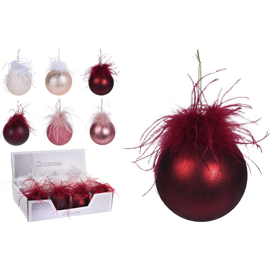 Kerstbal glas met veren 80mm/1-1