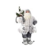 Kerstman 60cm wit/grijs