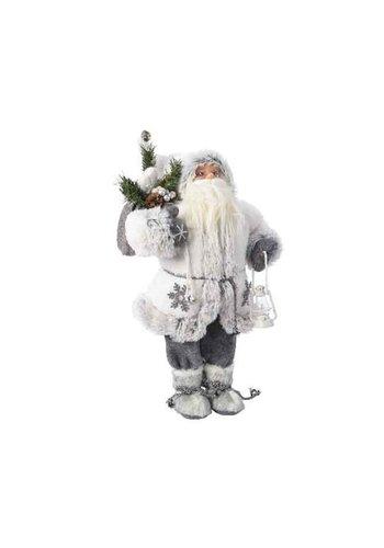 Decoris Kerstman 30cm wit/grijs