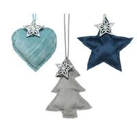Hanger kerstfiguur blauw/grijs 3ass