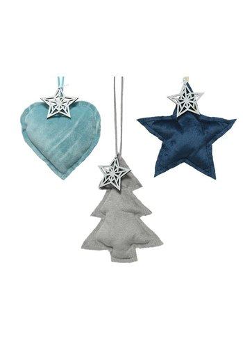 Decoris Hanger kerstfiguur blauw/grijs 3ass