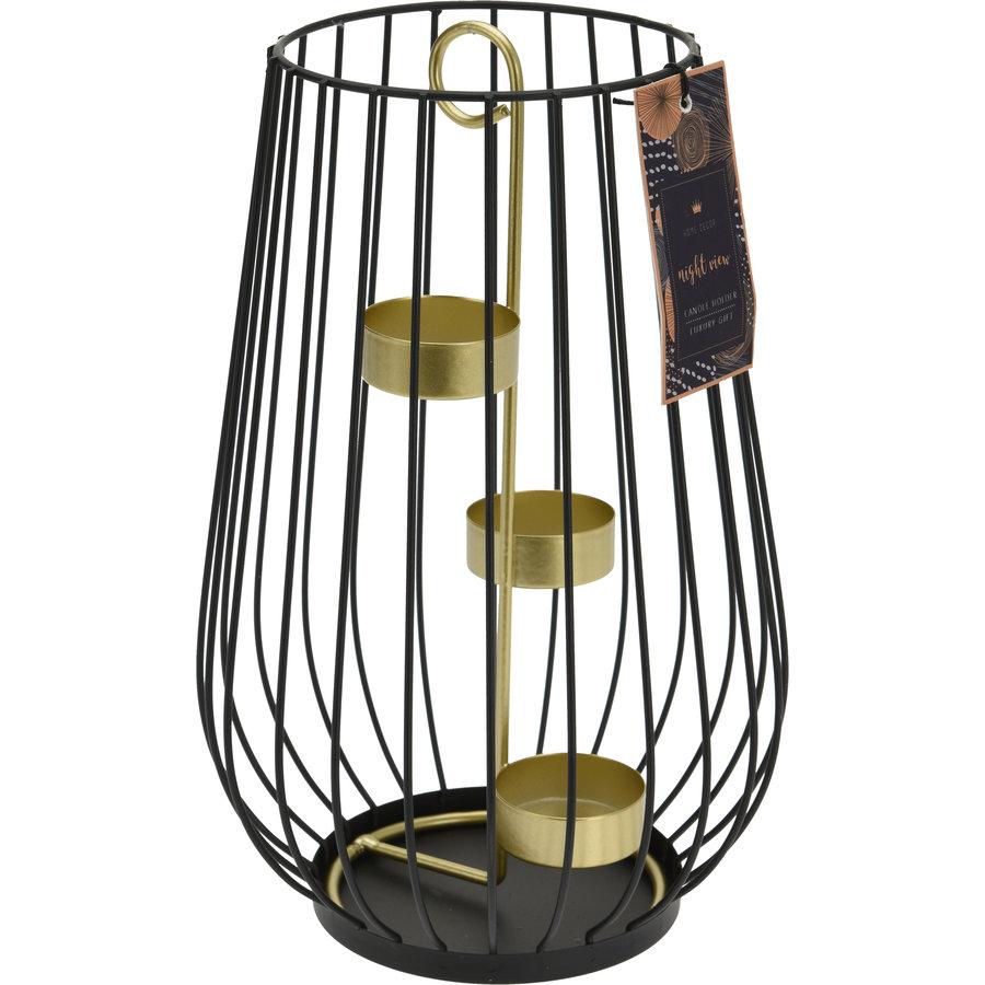 Windlicht metaal zwart/goud 25cm-1