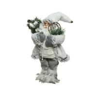 Kerstman 30cm wit m/sneeuwschoenen