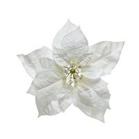 Poinsettia wit op clip 24cm