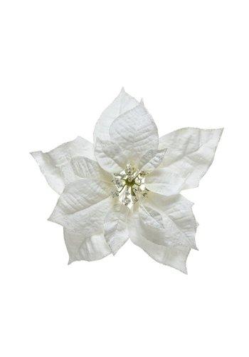 Decoris Poinsettia wit op clip 24cm