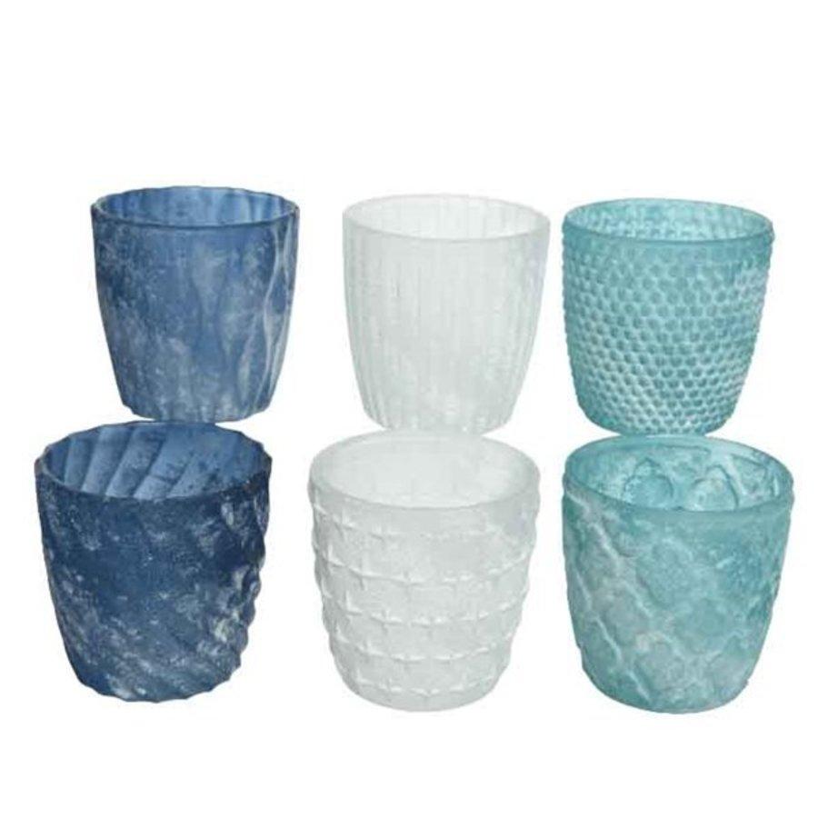 Theelichthouder glas frost 7x7.5cm 6ass-1