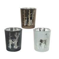 Theelichthouder glas 6.5cm 3ass