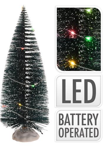 Kerstboom 22cm met 10 led multi