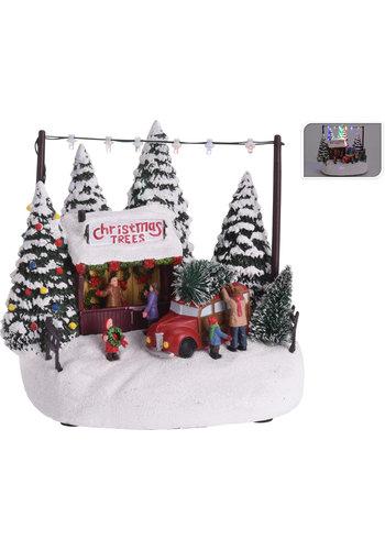 Kersttafereel 18cm 6 led multicolor
