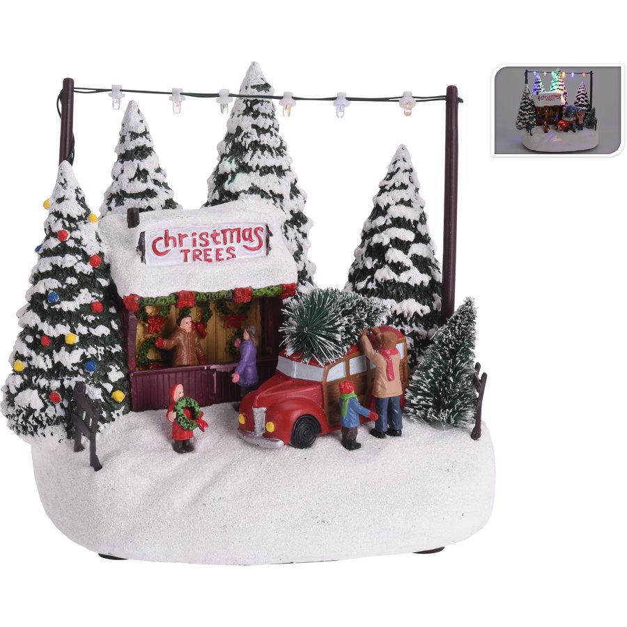 Kersttafereel 18cm 6 led multicolor-1