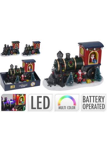 Kersttafereel trein led  22x13cm 6 multicolor lights