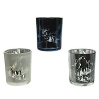 Theelichthouder glas 8.3cm 3ass
