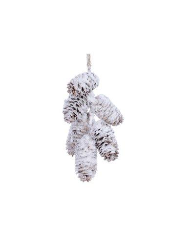 Decoris Dennenappel hanger tros 18cm naturel /sneeuw