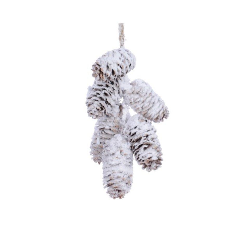 Dennenappel hanger tros 18cm naturel /sneeuw-1