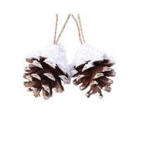 Dennenappel hanger 6cm naturel/sneeuw /2