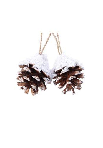 Decoris Dennenappel hanger 6cm naturel/sneeuw /2