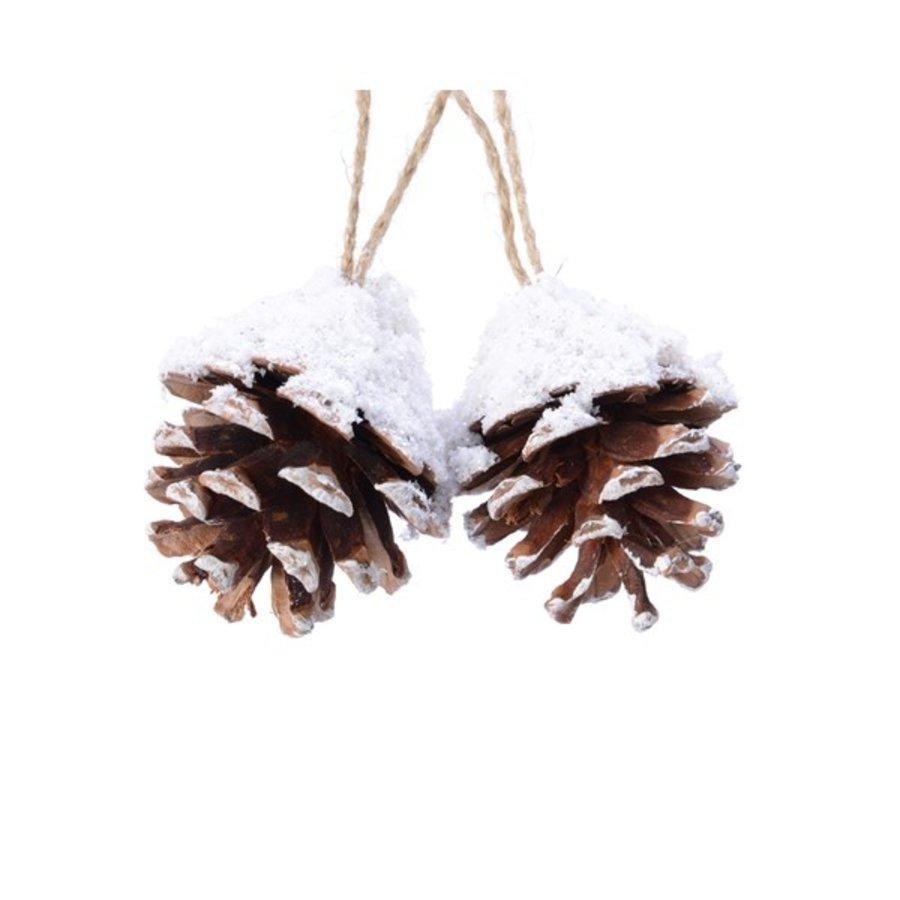 Dennenappel hanger 6cm naturel/sneeuw /2-1