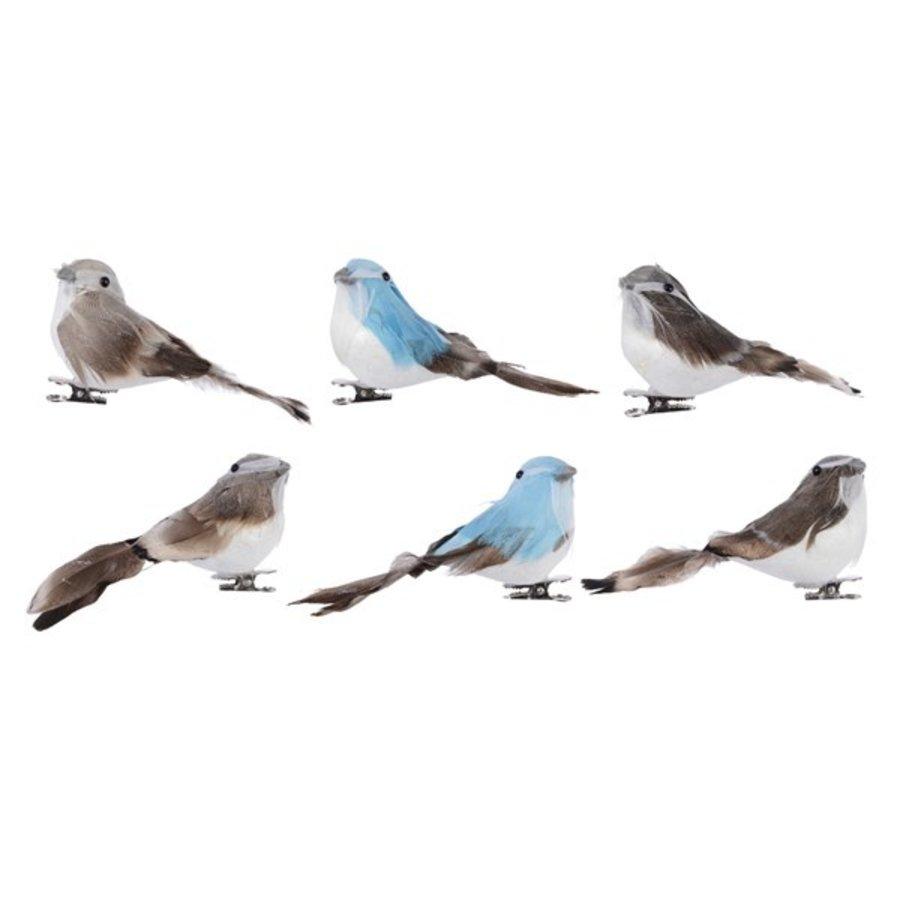 Vogel veren draad 11x4x5cm 3ass /2-1